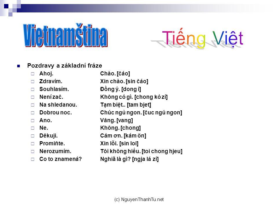 Vietnamština Tiếng Việt Pozdravy a základní fráze Ahoj. Chào. [čáo]